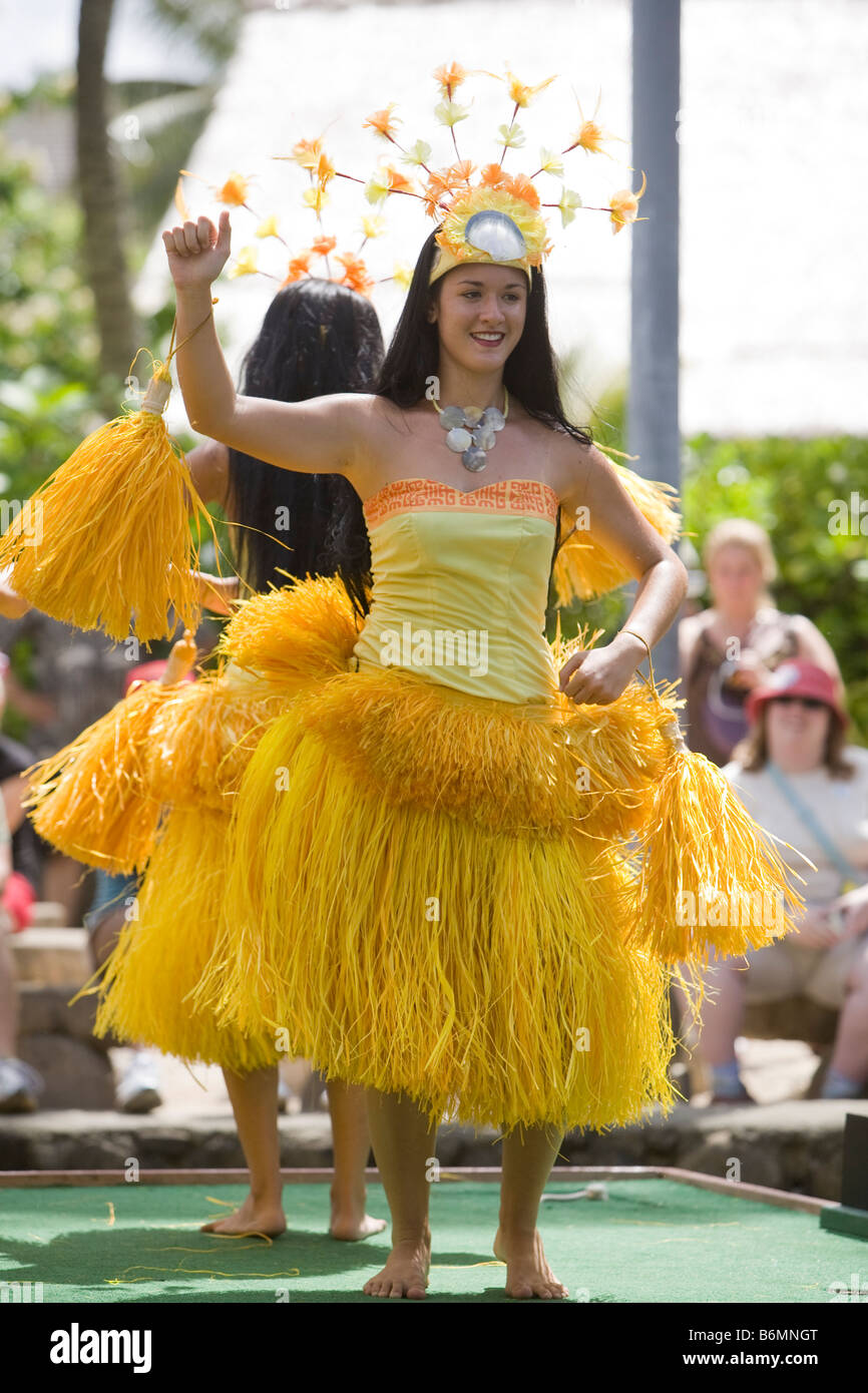 LA'IE, HI - JULY 26:  Dance performance at Hawaii's Polynesian Cultural Center. - Stock Image