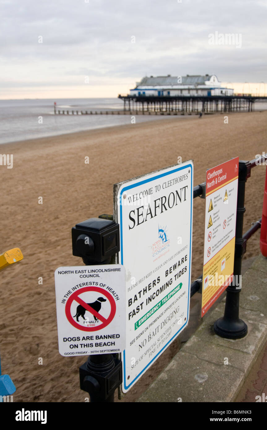 cleethorpes north east Lincolnshire beach seaside town pier cold winter day rundown seaside sea side coast day out - Stock Image