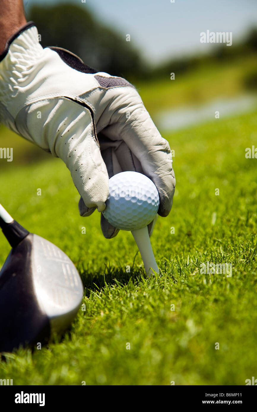 golfer arranging the ball on the tee - Stock Image