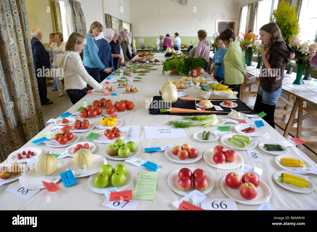 Display of fruit and vegetables at a village horticultural show, Gatehouse of Fleet, Dumfries & Galloway, Scotland Stock Photo