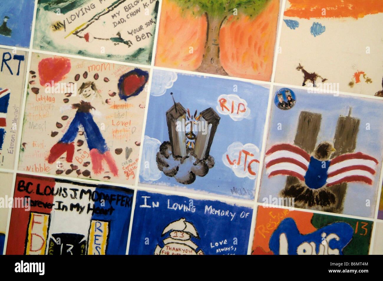 Children's painted memorial tiles at 9/11 Ground Zero New York, USA - Stock Image