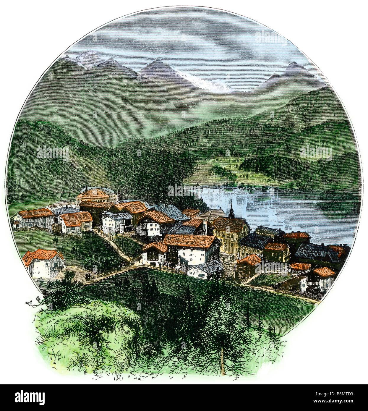 Village of Saint Moritz Switzerland in the 1870s. Hand-colored woodcut - Stock Image