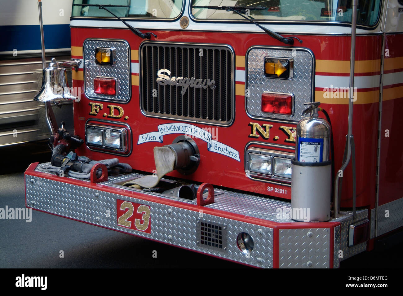 Front detail of New York Fire Department fire engine 23 - Stock Image