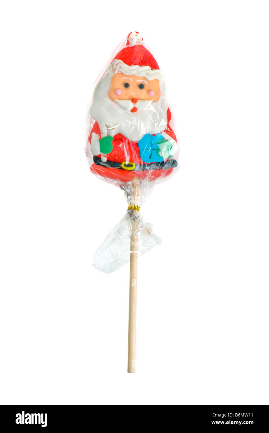 x-mas christmas santa claus father candy cane lollipop lolli lolly sweets girls boys children red white fun funny xmas toy playt Stock Photo