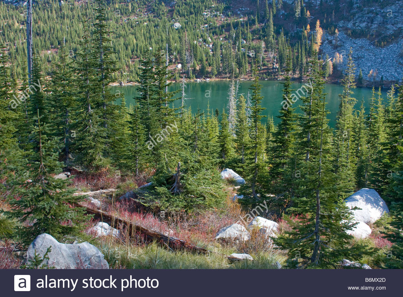 Roman Nose Lake in the Sub Alpine wilderness of the Selkirk Mountains in North Idaho - Stock Image