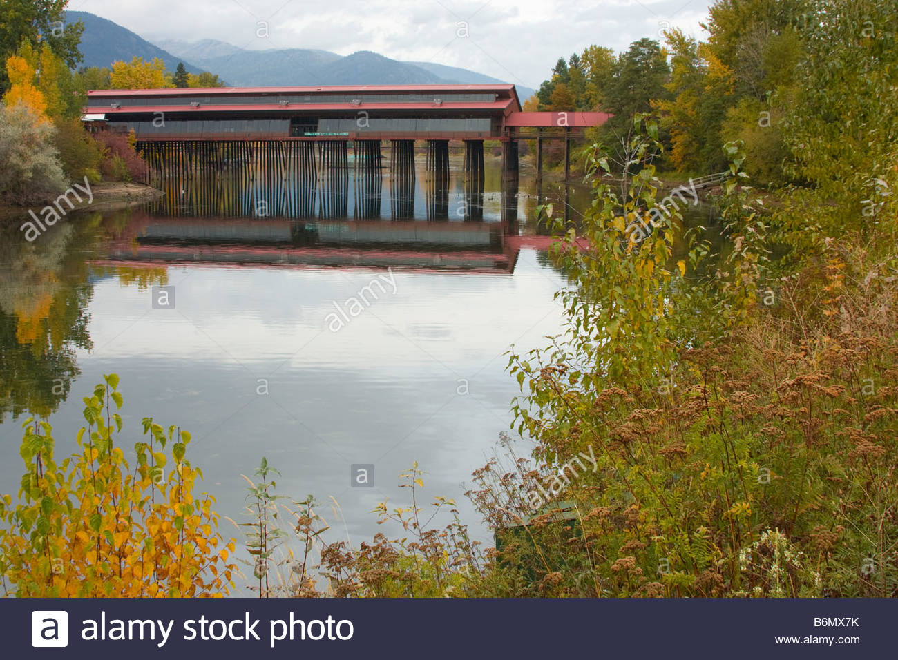 The Cedar Street Bridge in Sandpoint Idaho reflecting in the water of Sand Creek - Stock Image
