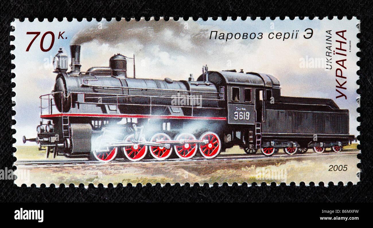 History of railway transport, Steam locomotive series E (1912-1957), postage stamp, Ukraine, 2005 - Stock Image