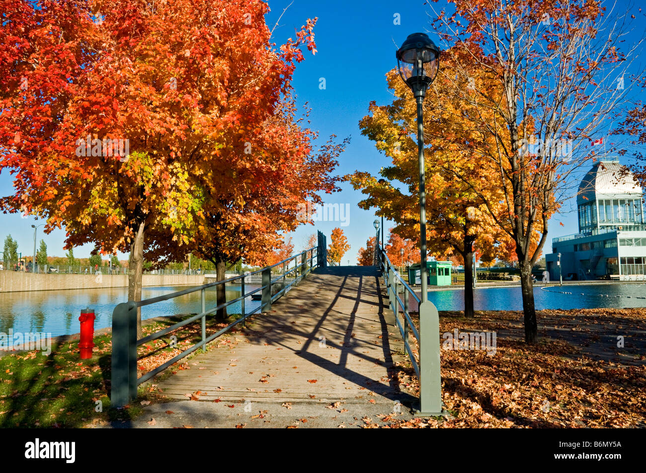Fall season in Old Montreal Bassin Bonsecours - Stock Image