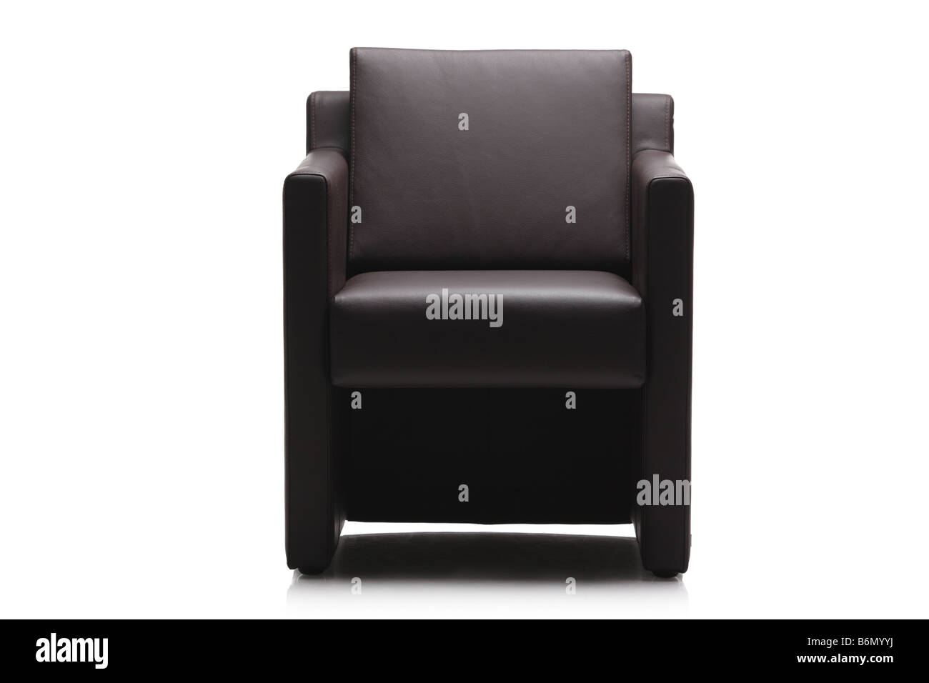 Image Of A Modern Black Leather Armchair   Stock Image