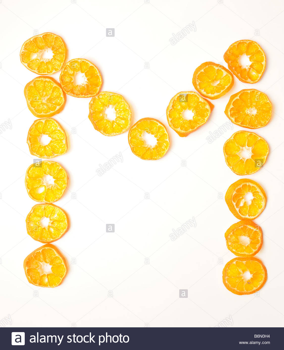 Foodfont Food Font Mandarin Slices Letter M White Background Cut Outs Search String Pbabcm
