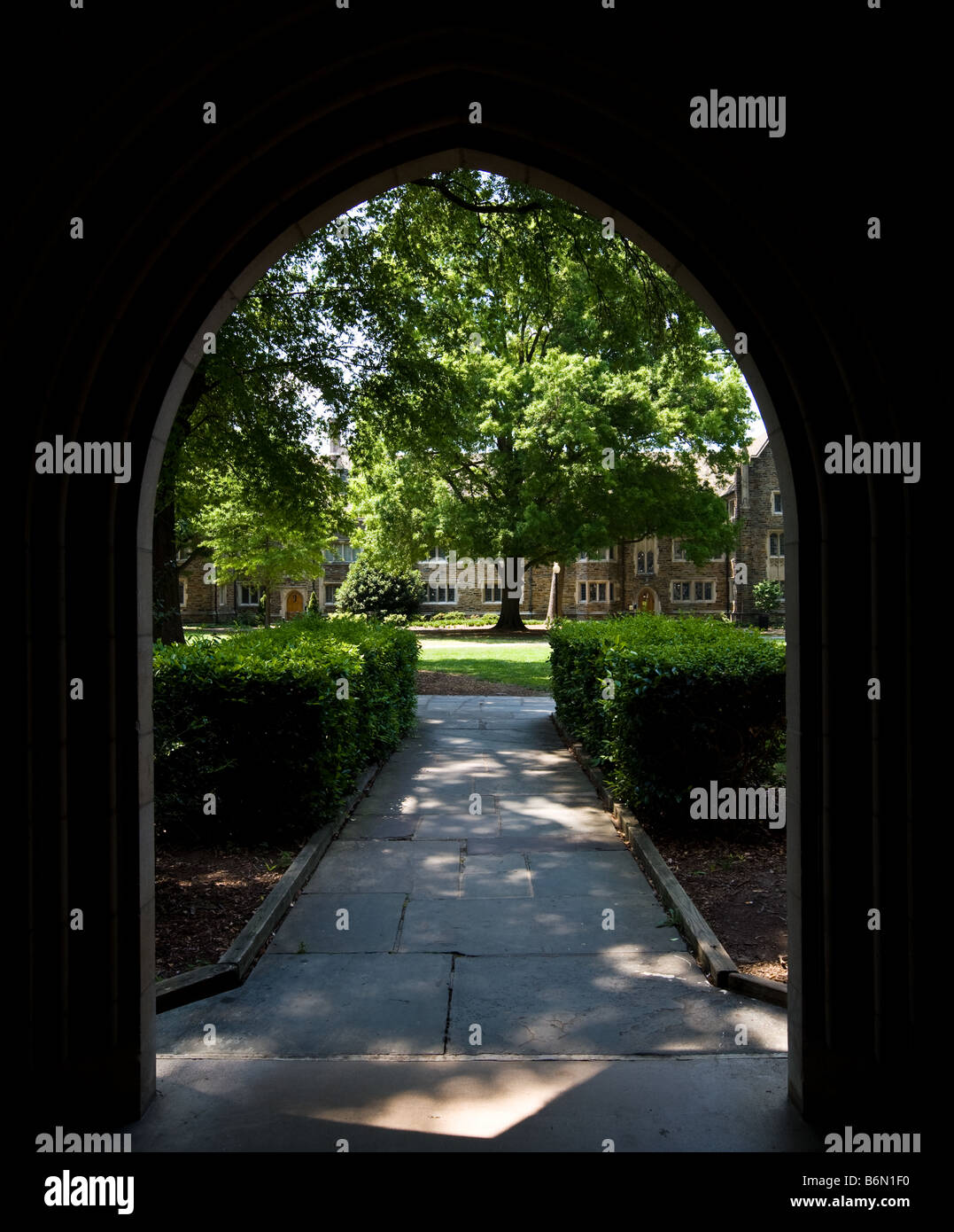 An archway between the dormitories on the Duke University campus. Stock Photo