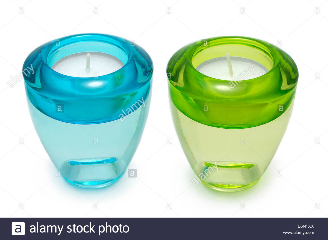 Glass Candle Holders - Stock Image