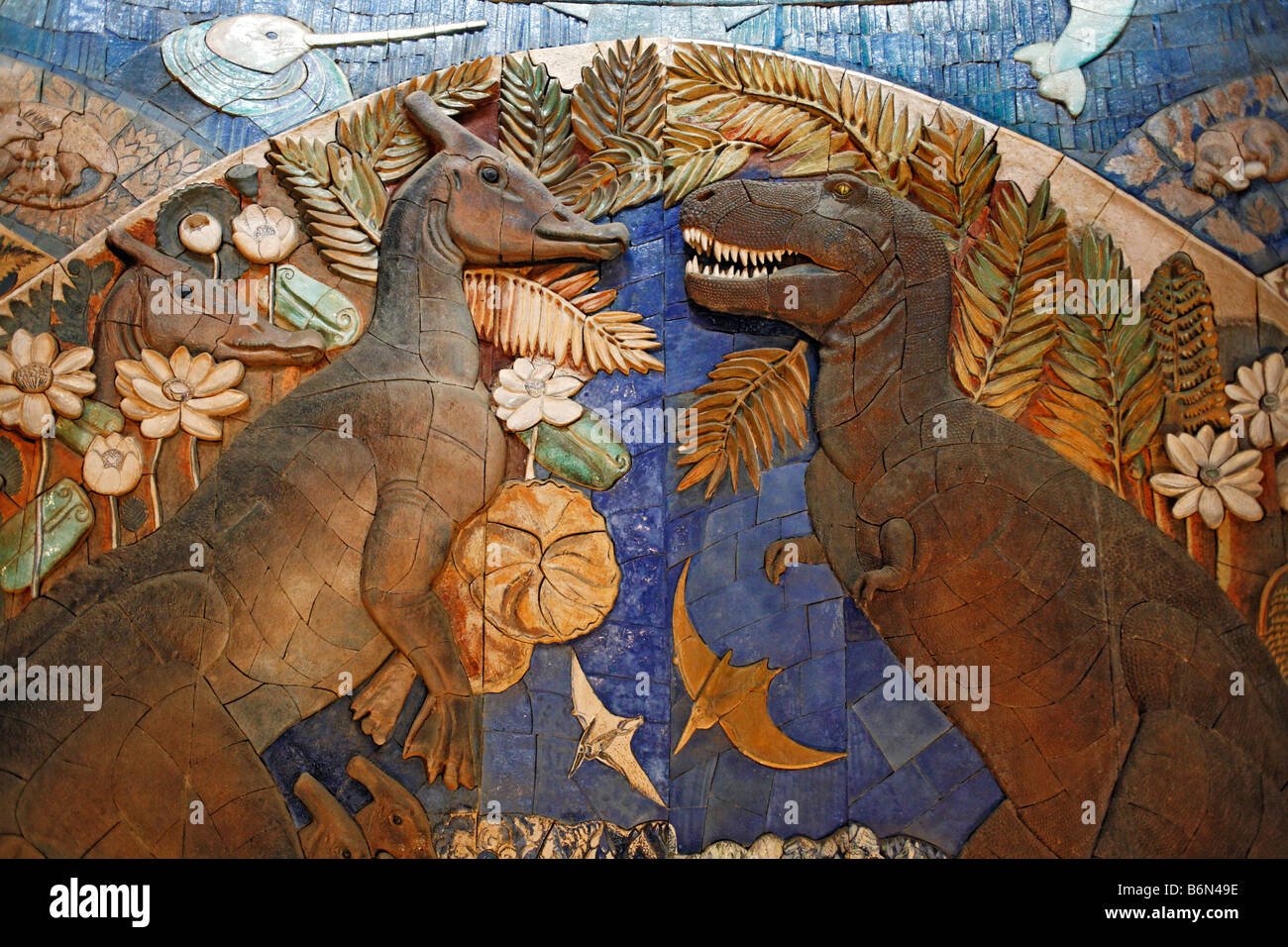 Dinosaurs, Palaeontology museum, Moscow, Russia - Stock Image