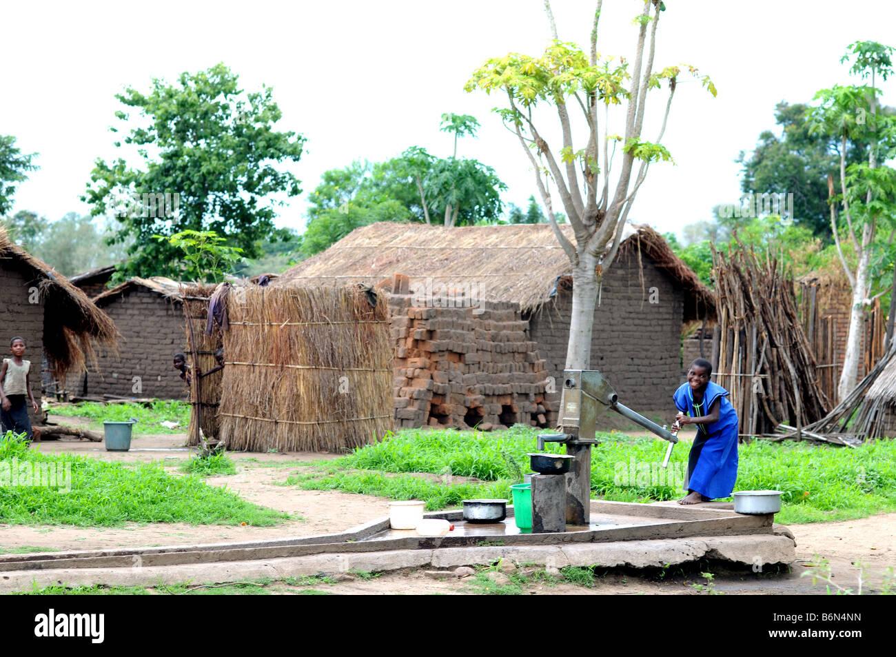 rural scene malawi - Stock Image