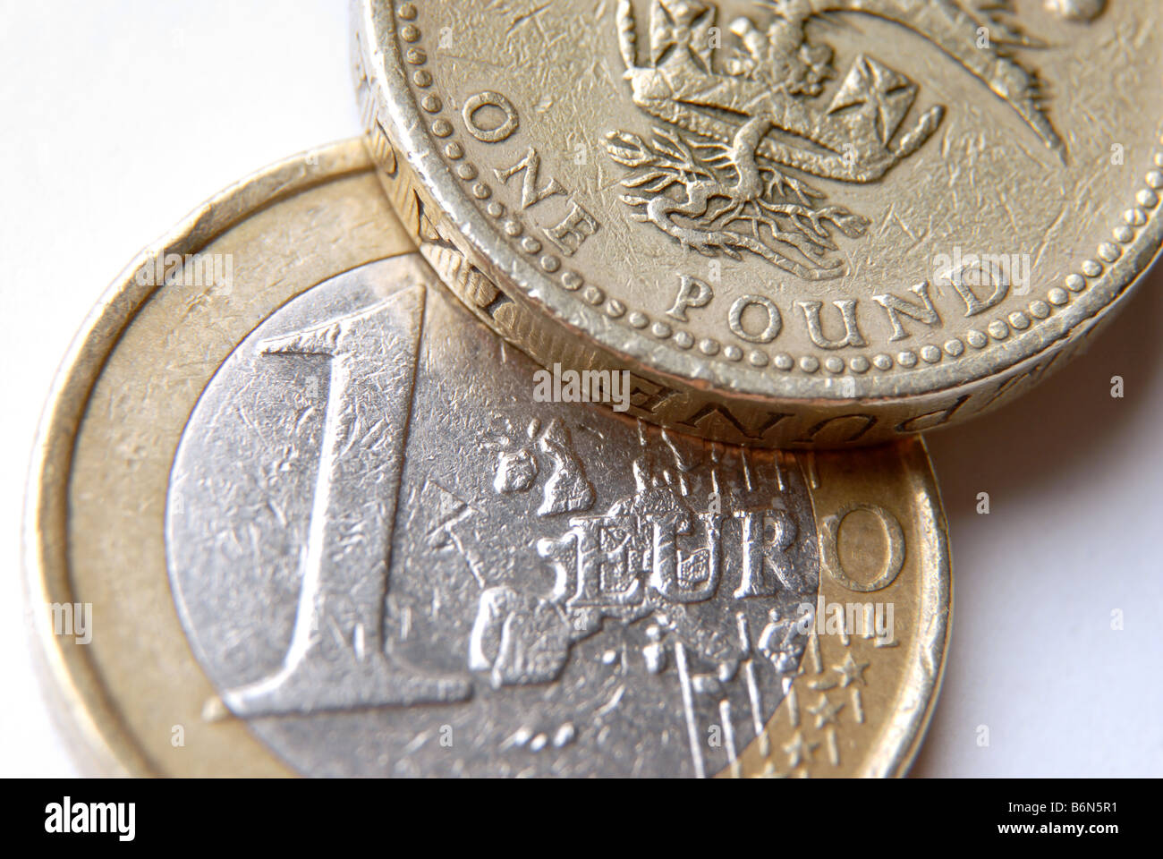 Generic picture with a one pound coin and a one euro coin - Stock Image