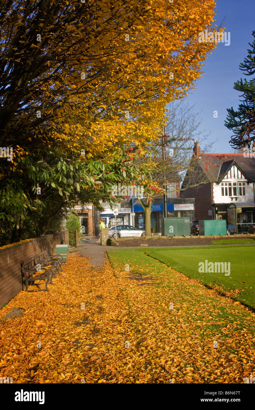 Walkway beside the bowling green, Ashley Road, Hale Village, Cheshire - Stock Image