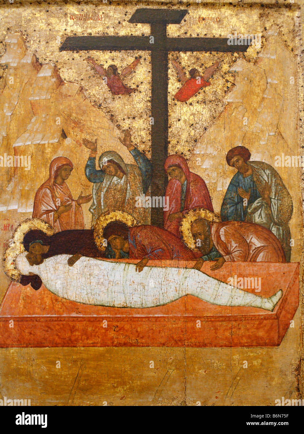 Deposition in the Tomb (1497), Rostov icon, Museum of Old Russian art, Moscow, Russia Stock Photo