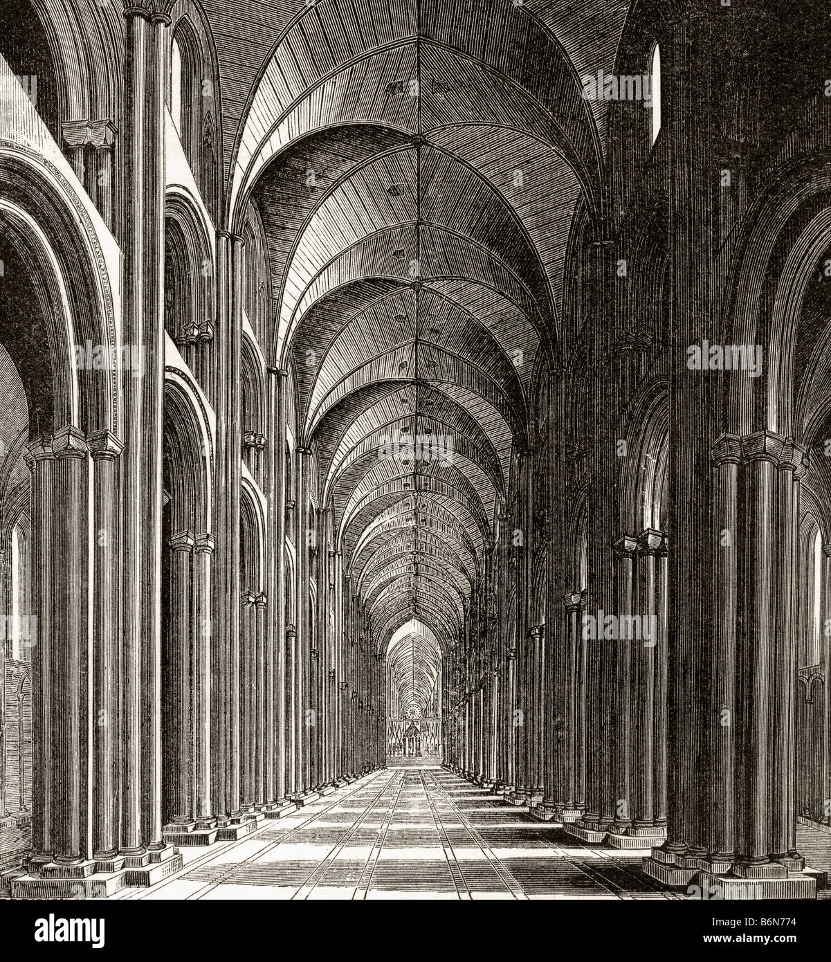 Interior of the Nave of Old St Paul s London England - Stock Image