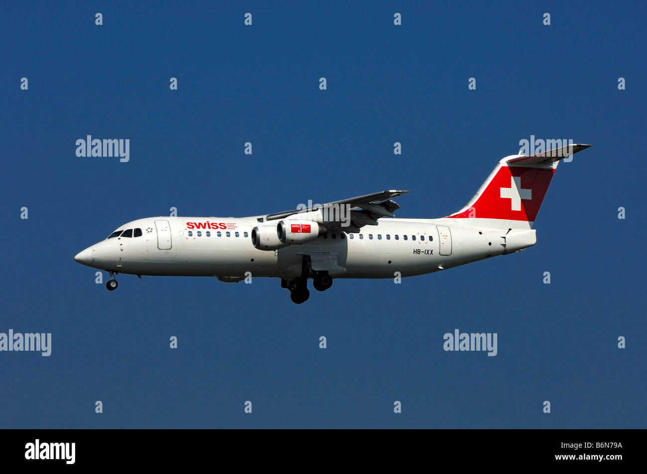 Aircraft AVRO 146 RJ100, main operator Swiss European Air Lines AG - Stock Image