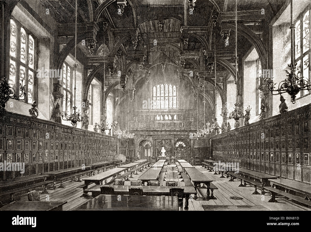 The Great Hall of the Middle Temple One of four Inns of Court London England - Stock Image