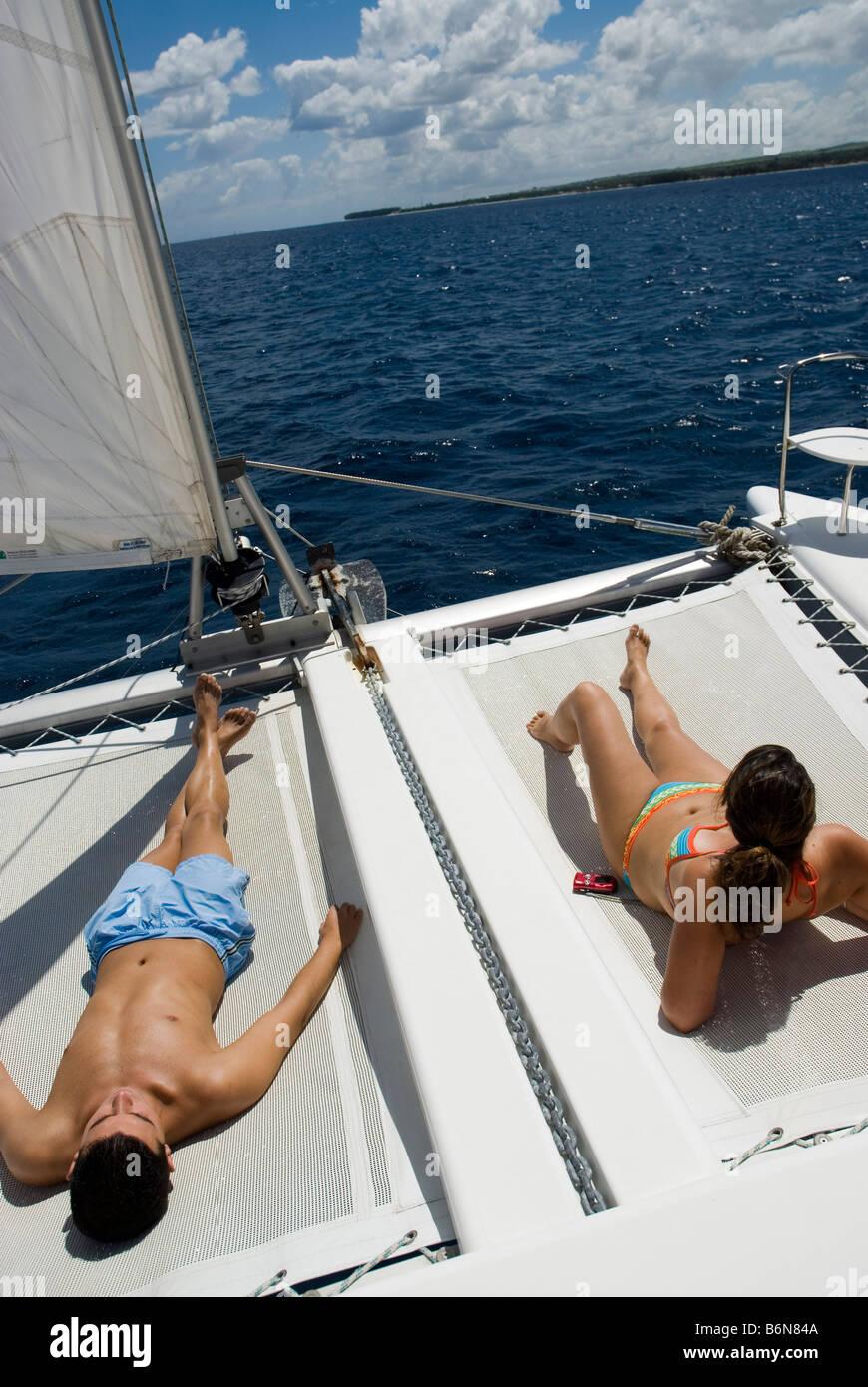 Catamaran cruise on west coast MAURITIUS ISLAND - Stock Image