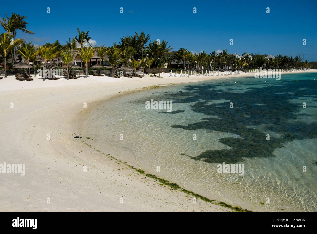 Beach of Hotel The Residence in Belle Mare area MAURITIUS ISLAND - Stock Image