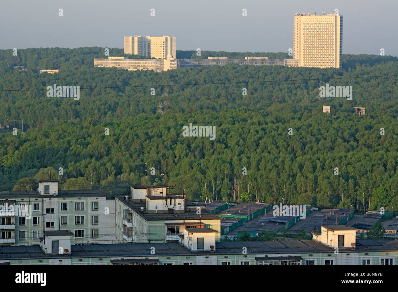 1980s apartment buildings and headquarters of Russian intelligence service, Moscow, Russia - Stock Image