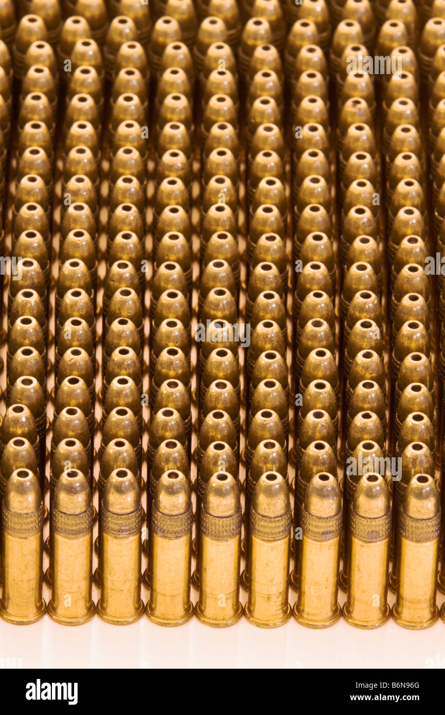 Close up of 22 caliber bullets with hollow point tips - Stock Image
