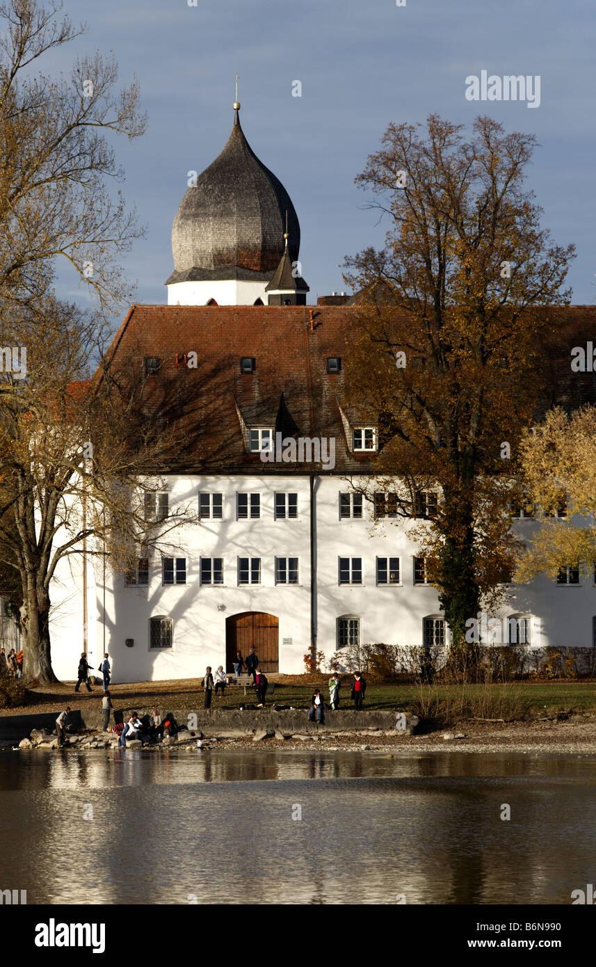 Church tower with clock, bell tower, the Benedictine monastery Frauenwoerth, Fraueninsel island, Lake Frauenchiemsee Stock Photo