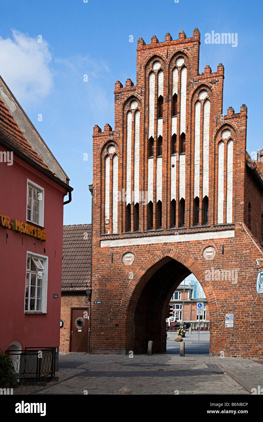 The Water Gate or Wassertor part of city fortifications in the 15th century Wismar Germany - Stock Image