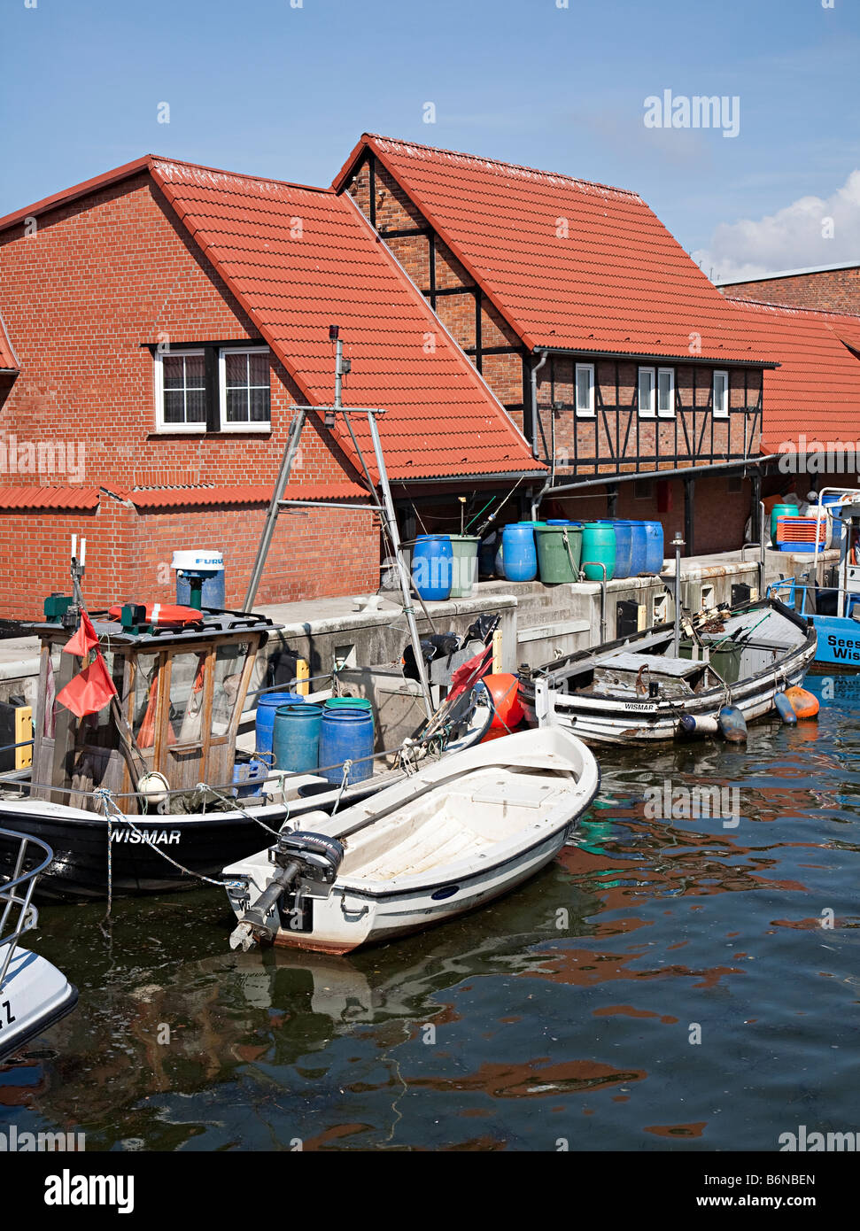 Harbour buildings and boats on the Baltic Sea Wismar Germany - Stock Image