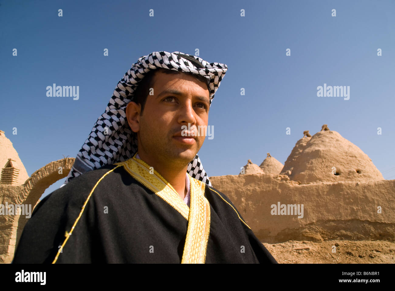 Arab Turk shopkeeper of Harran Culture House with mud brick beehive adobe houses - Stock Image