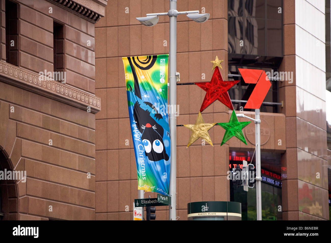 Happy Christmas Banners Outside Channel 7 Officesmartin Placesydney Australia