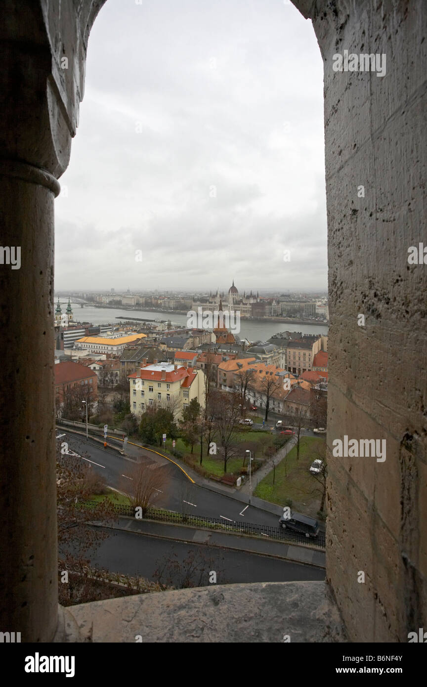 Hungary Budapest Parliament building from Fishermans Bastion castle district - Stock Image