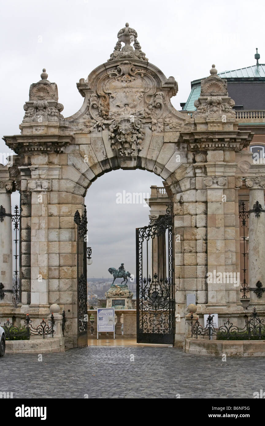 Hungary Budapest side entrance to Royal Palace and Prince Eugene of Savoy statue Stock Photo