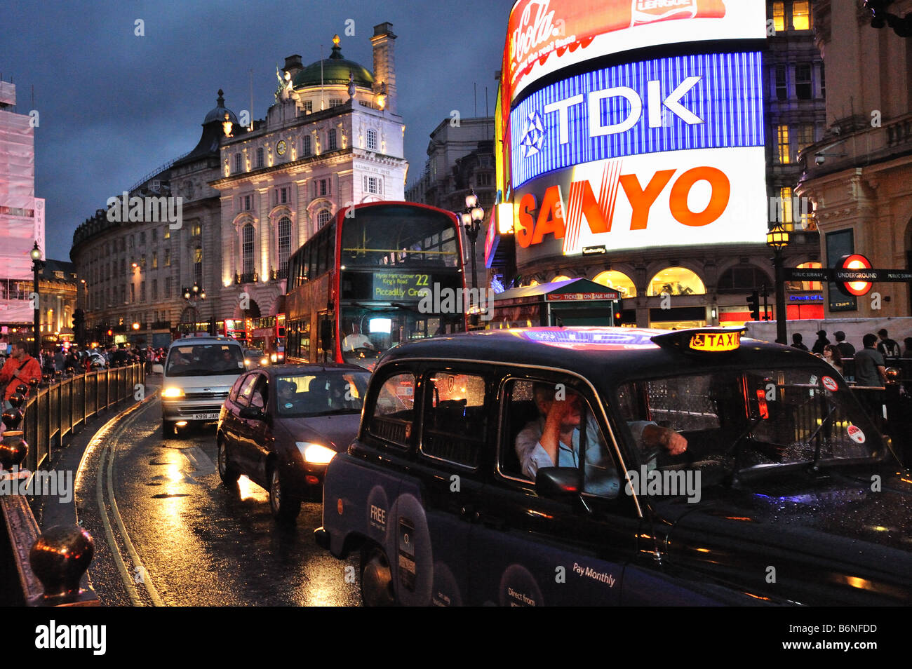 Piccadilly Circus, evening, London, UK - Stock Image