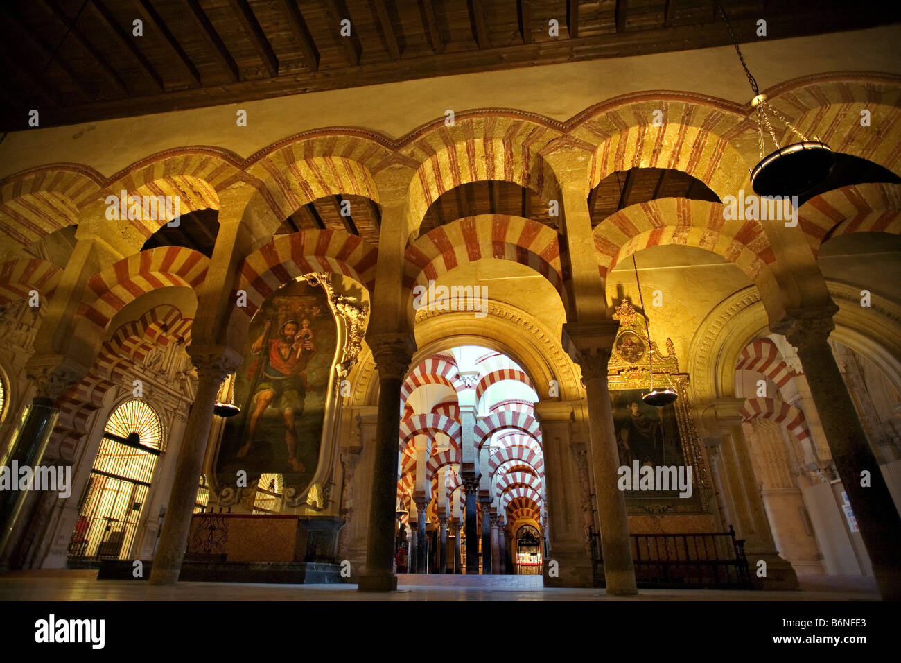 Column courtyard of the mosque cathedral cordoba andalusia spain columnas del interio de la mezquita catedral andalucia Stock Photo
