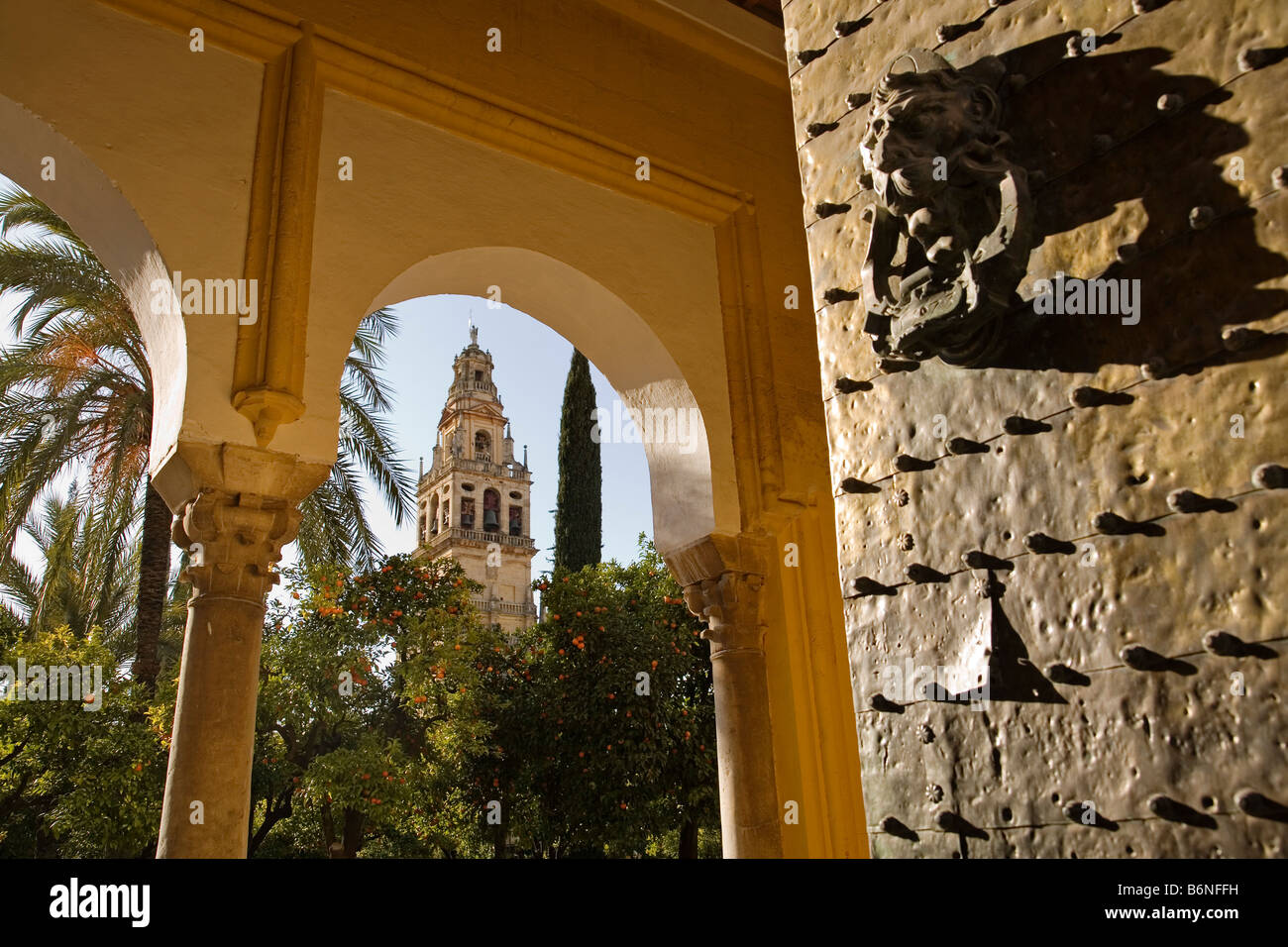 gateway and tower minaret of the mosque cathedra cordoba andalusia spain Stock Photo