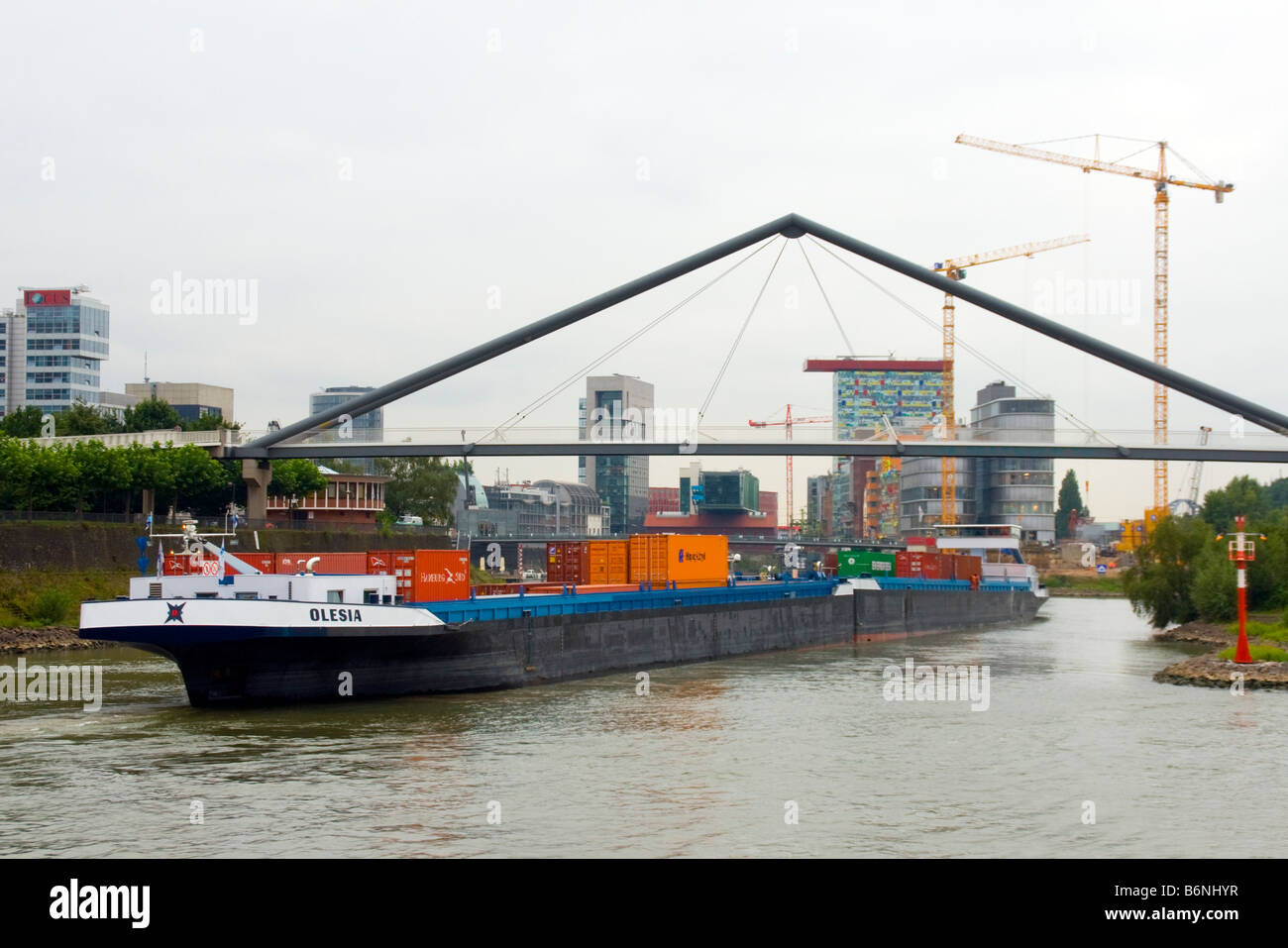 Dusseldorf commercial shipping port on Rhine River - Stock Image