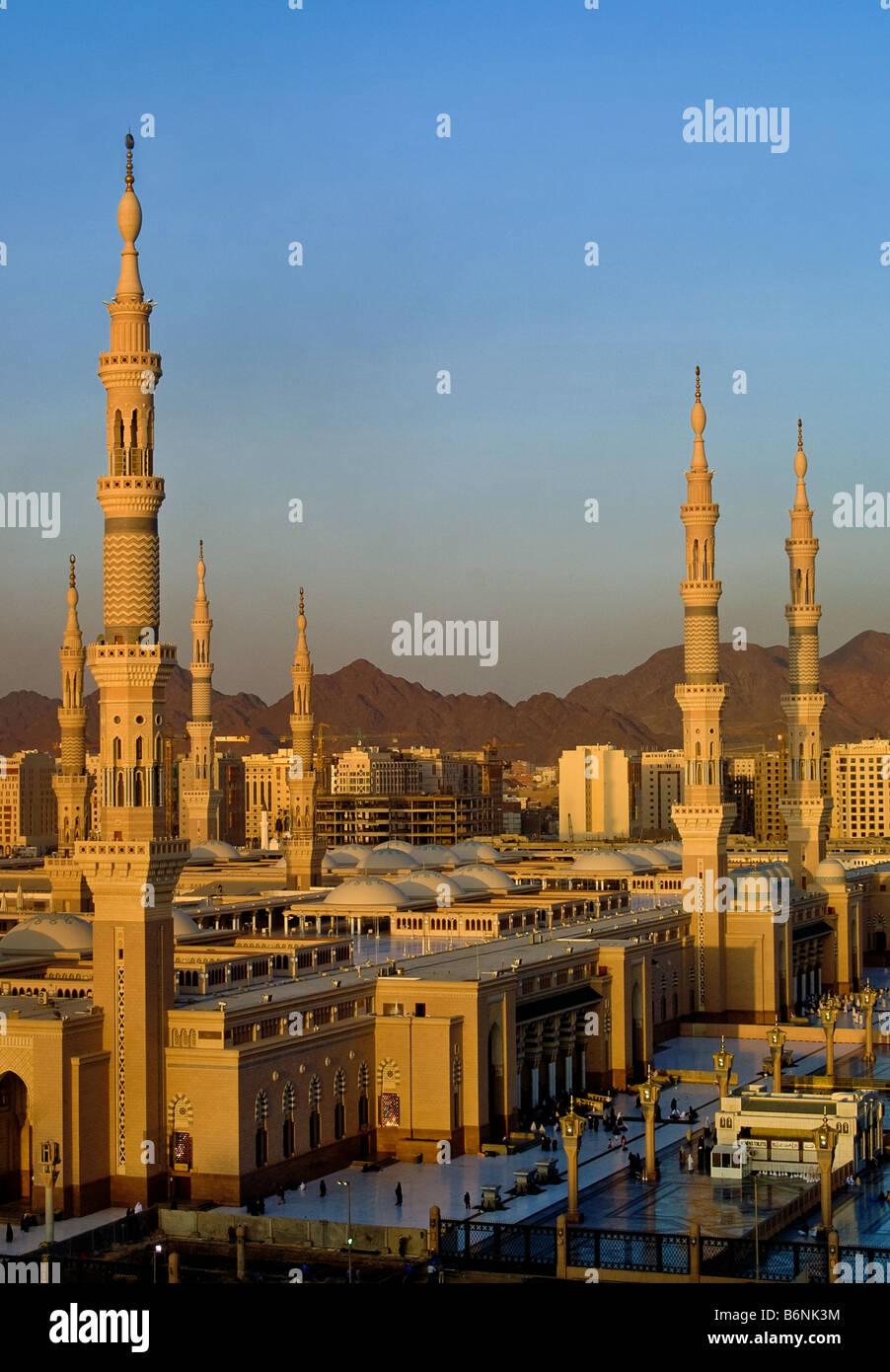 Minars (towers) of Nabawi Mosque, Madina, Saudi Arabia - Stock Image