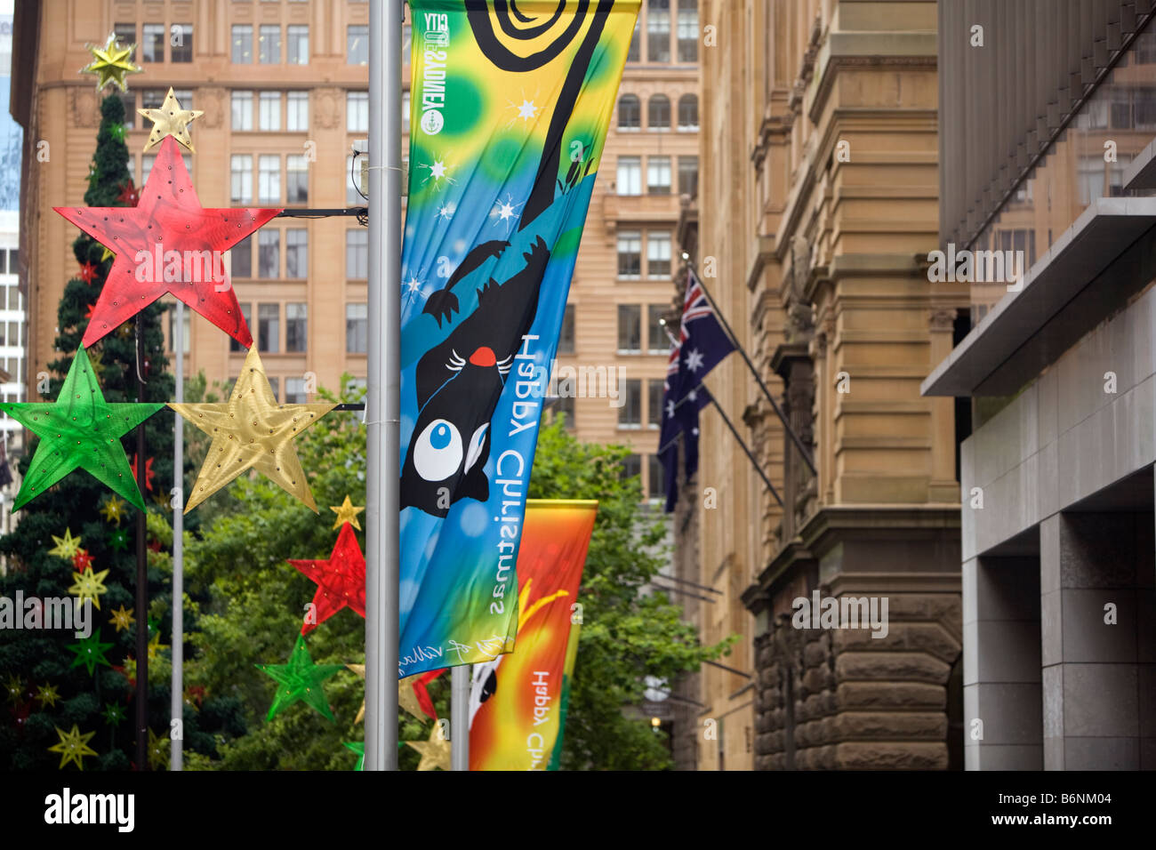 Happy Christmas Banners Along With The Australian Flag In Martins Placesydneyaustralia