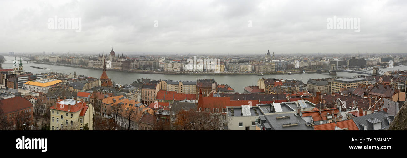 Hungary Budapest Fishermans Bastion Panorama of the Danube and city Stock Photo