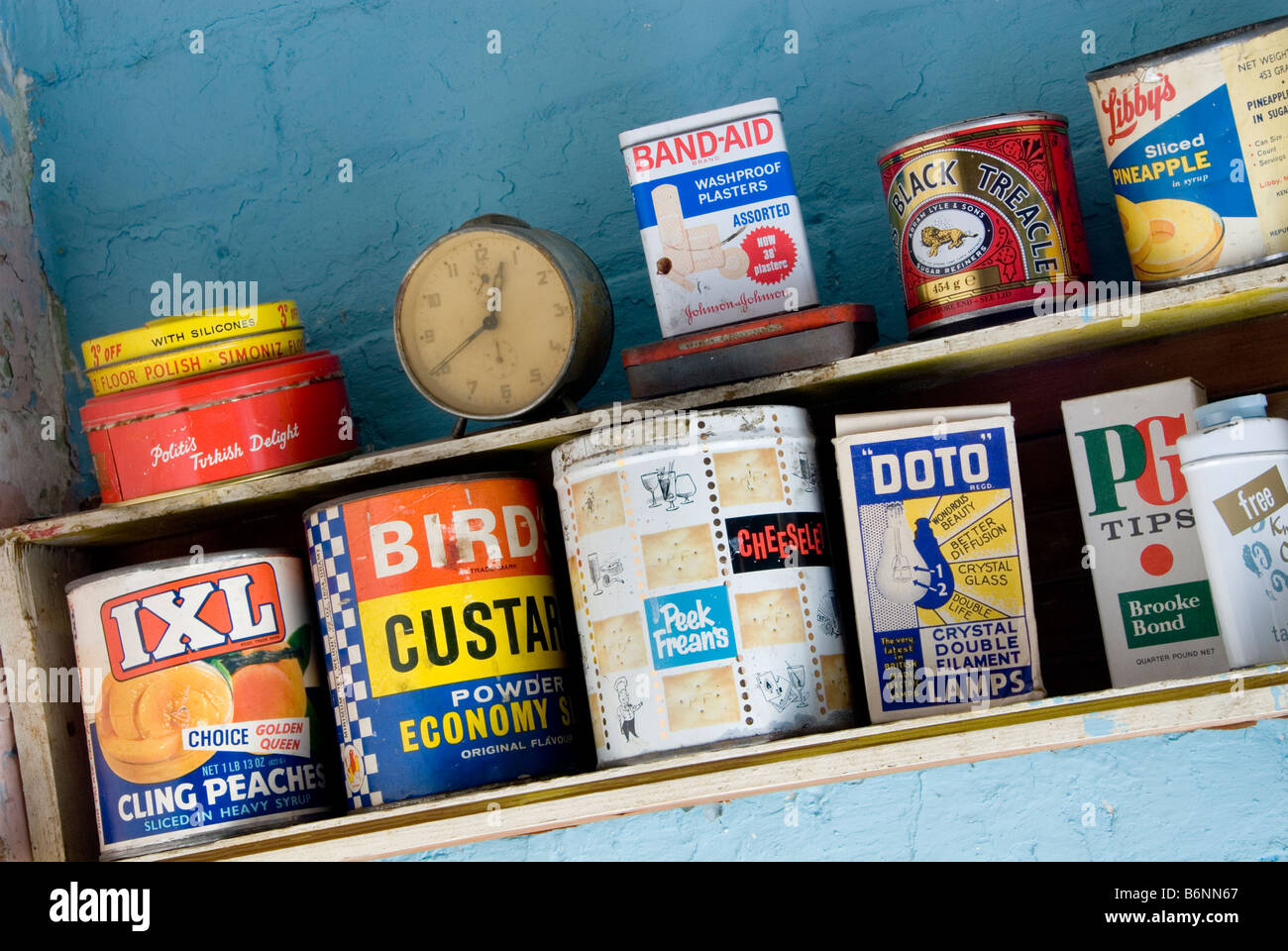 Old 70's food packets and products on crude shelf from the 1960's 1970s Stock Photo