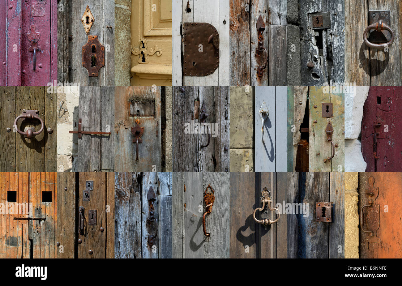 Multiple 21 x image horizontal montage of french door locks latches knobs and handles
