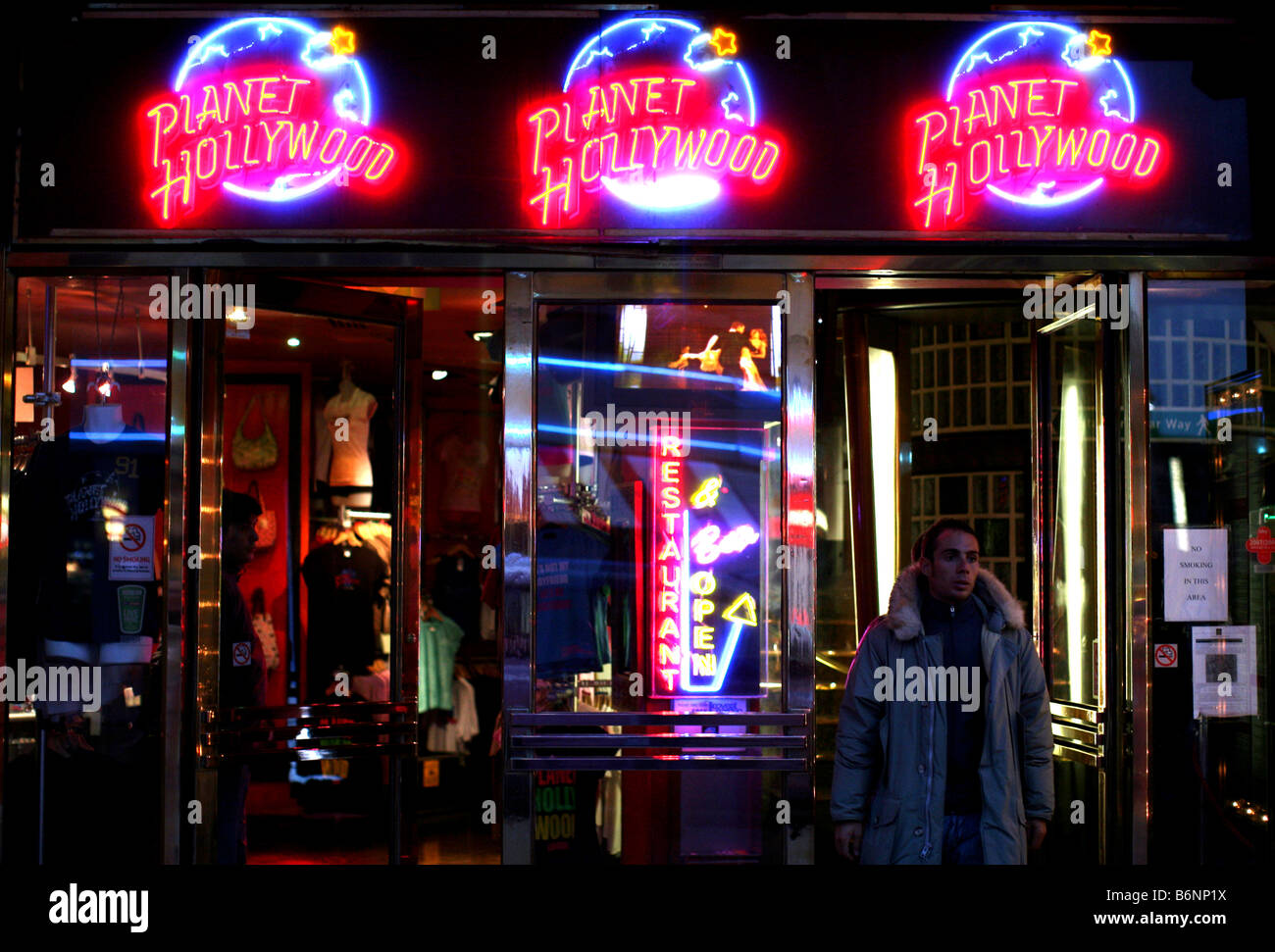 Entrance to Planet Hollywood in Leicester Square, London - Stock Image