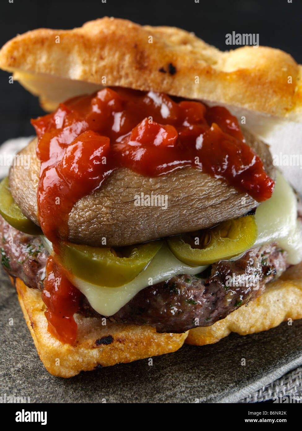 Beef Burger With Creole Sauce And Focaccia Bread Roll