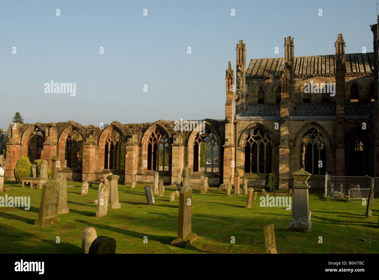 Ruins of Melrose Abbey (1136), Scotland - Stock Image