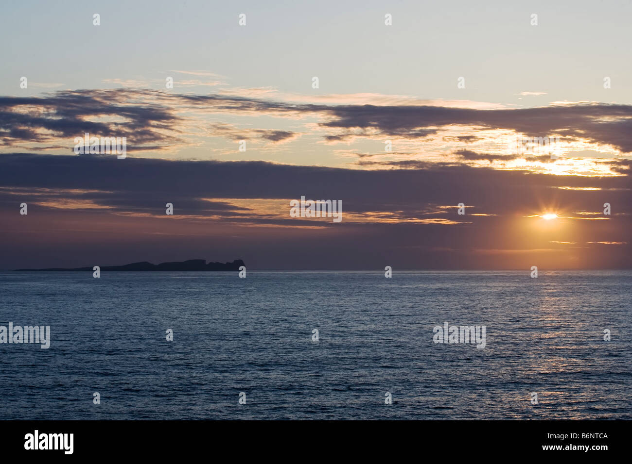 View to Tory Island of the North Coast of Donegal Ireland at Sunset Stock Photo