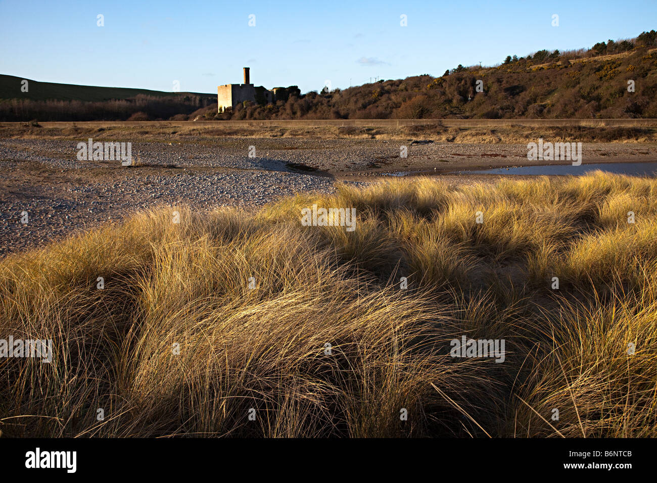 Marram grass dunes with ruined remains of pebble limekilns opened in 1888 East Aberthaw nature reserve Wales UK - Stock Image
