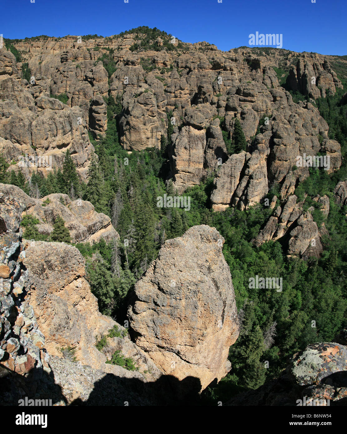 vertical wide angle image of conglomerate rock spires in Maple Canyon Utah - Stock Image